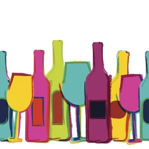 Abstract watercolor seamless background, colorful wine bottles and glasses. Concept for bar menu, party, alcohol drinks, holidays, wine list, flyer, brochure, poster, banner. Creative trendy design.